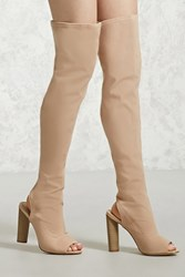 Forever 21 Over The Knee Cutout Boots Nude