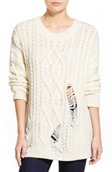 J.O.A. Destroyed Cable Knit Pullover Ivory