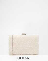 Chi Chi London Box Clutch With Lace Overlay White