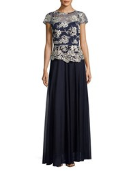 Decode 1.8 Embroidered Ankle Length Dress Navy