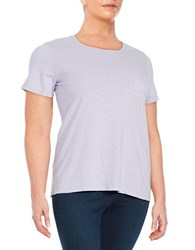 Lord And Taylor Plus Crewneck Pocket Tee African Violet