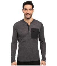 Nau Randygoat Lite Henley Top Caviar Heather Men's Long Sleeve Pullover Black