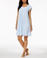 Miss Elaine Embroidered Rose Knit Nightgown White Leaves On Blue
