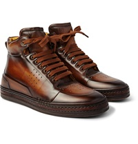 Berluti Playtime Burnished Leather High Top Sneakers