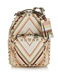 Valentino Rockstud Striped Leather Mini Backpack