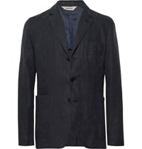 Aspesi Midnight Blue Slim Fit Unstructured Linen Blazer