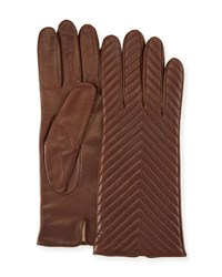 Portolano Quilted Napa Leather Gloves Castagna