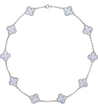 Van Cleef And Arpels Vintage Alhambra Gold Chalcedony Necklace White Gold