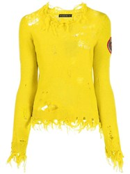 Etro Distressed Knit Jumper Yellow