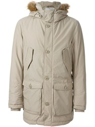 Woolrich Fur Trimmed Hood Parka Nude And Neutrals