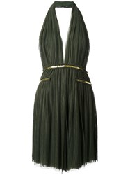 Jay Ahr Gold Tone Detail Halterneck Dress Green