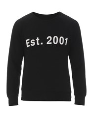 Rag And Bone Graphic Crew Neck Cotton Sweatshirt Black