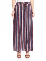 Splendid Beachcomber Stripe Maxi Skirt Fiery Red Navy
