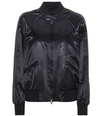 Valentino Rockstud Untitled Satin Varsity Jacket Black