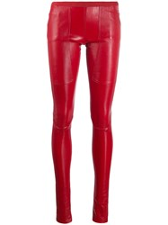 Rick Owens Leather Biker Trousers Red