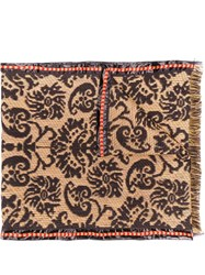 Etro Baroque Knitted Scarf Brown
