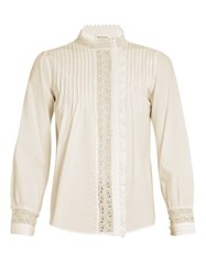 Masscob Hazel Lace Trimmed Cotton Blouse White