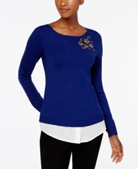 Charter Club Layered Look Brooch Sweater Created For Macy's Bright Sapphire