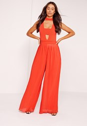 Missguided Pleated Wide Leg Trousers Orange Red
