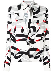 Msgm Ribbon Print Shirt White