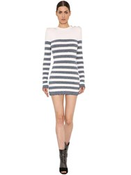 Balmain Lurex Striped Viscose Knit Dress White Blue