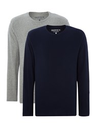 Howick Two Pack Plain Nightwear T Shirts Long Sleeved Grey