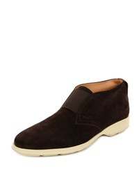 Salvatore Ferragamo Gart Suede Laceless Chukka Boot Brown