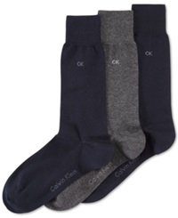 Calvin Klein Men's Socks Combed Flat Knit Crew 3 Pack Navy Black Grey