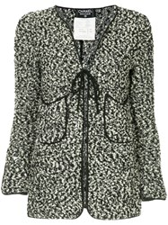 Chanel Vintage Flocked Tied Cardigan Black