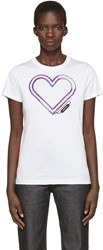 Carven White Neon Heart T Shirt