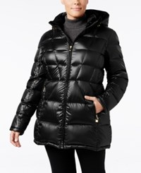 Calvin Klein Plus Size Hooded Packable Puffer Coat Only At Macy's Black