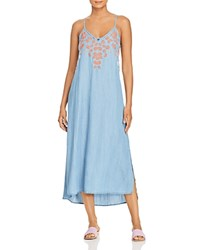 Billy T Floral Embroidered Chambray Midi Slip Dress Blue