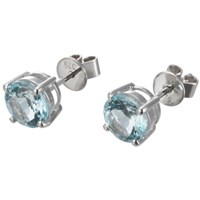 Ewa 9Ct White Gold Brilliant Cut Aquamarine Stud Earrings Blue