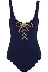 Marysia Palm Springs Lace Up Scalloped Swimsuit Navy