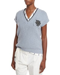 Brunello Cucinelli Cap Sleeve V Neck Pullover Sweater Light Blue