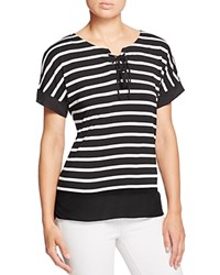 Kim And Cami Lace Up Striped Tee Black White