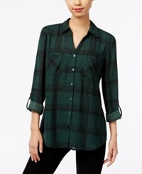 Ny Collection Plaid Utility Shirt Pine Grove Houndstooth