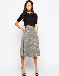 Girls On Film Gold Jacquard Midi Skirt