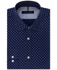 Tommy Hilfiger Men's Slim Fit Non Iron Blue Print Dress Shirt New Navy