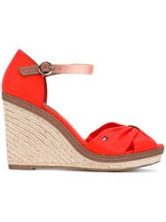 Tommy Hilfiger Wedged Sandals Women Cotton Leather Rubber 39 Red