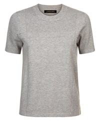 Jaeger Knitted Texture Block T Shirt Grey
