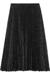 Theory Zeyn Plisse Lace Midi Skirt Black
