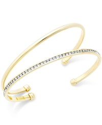 City By City Gold Tone Set Of 2 Open Cuff Bangle Bracelets