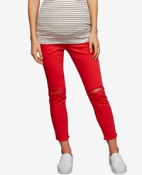 A Pea In The Pod Maternity Distressed Skinny Jeans Red
