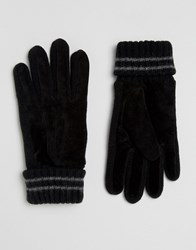 Esprit Suede Knit Gloves Black