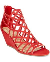 Material Girl Henie Caged Demi Wedge Sandals Only At Macy's Women's Shoes Red