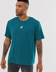 Sik Silk Siksilk Oversized T Shirt With Central Logo In Teal Blue