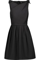 Raoul Jeanette Bow Embellished Stretch Cotton Poplin Mini Dress Black