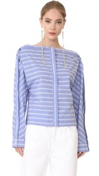 Dion Lee Cross Placket Shirt Blue Stripe