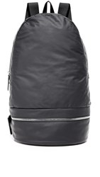 Z Zegna Popeline Leather Backpack Black Grey